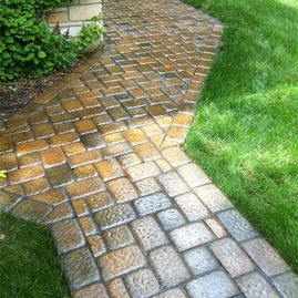 new stone walkway by Sturgeon Stone & Landscaping