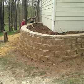 retaining wall just installed by Sturgeon Stone & Landscape
