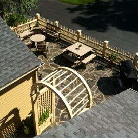 overhead view of fence installed by Sturgeon Stone & Landscape