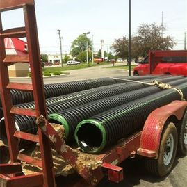drainage pipes for a project by Sturgeon Stone & Landscape