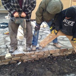 workers working on new patio